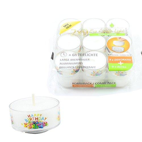 Smart Planet® Kerzen Ambiente - 9 ECO Teelichter in Transparenter Hülle mit Happy Birthday Motiv - Geburtstagskerze Nachfüllbar + 9X Wachsrohling zum Auffüllen