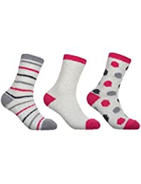 3 Pairs of Soft and Warm FLUFFY Socks - Slipper Bed Cosy Sock, One Size