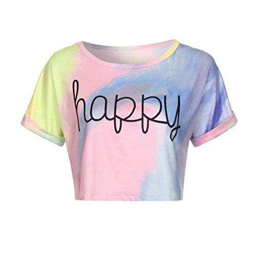 Ballerina Kostüm Selbstgemacht - TUDUZ Damen Elegant Tie Dye Kurzarm Beiläufige Loose Fit T-Shirt Crop Tops Bluse