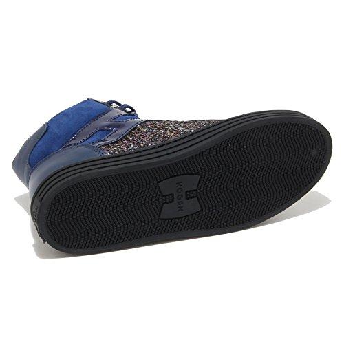8432M HOGAN REBEL paillettes scarpe bimba sneaker shoes kids blu Blu