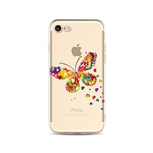 Coque iPhone 7 Housse étui-Case Transparent Liquid Crystal en TPU Silicone Clair,Protection Ultra Mince Premium,Coque Prime pour iPhone 7-Coeur-style 16 12