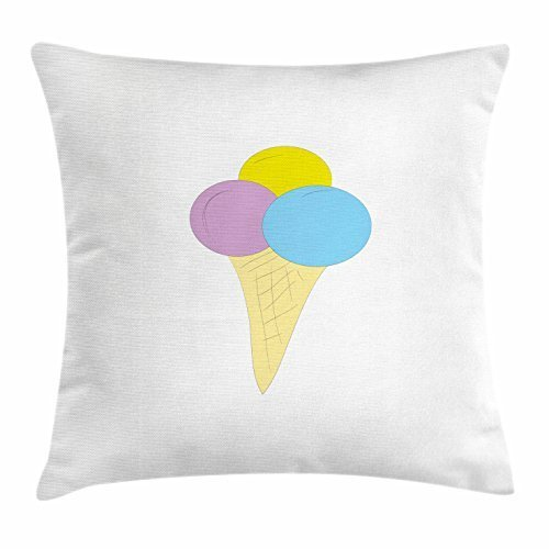 But why miss Ice Cream Throw Pillow Cushion Cover, Vivid Illustration of a Waffle Cone with Three Scoops of Ice Cream, Decorative Square Accent Pillow Case, 18 X 18 Inches, Yellow Pale Blue Lilac - Soft Scoop Ice Cream