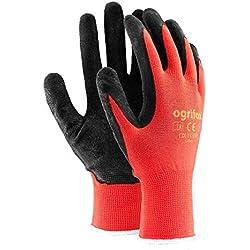 Lot de 24paires de gants de sécurité durables enduits de latex Pour jardinage et travaux, M - 8, noir/rouge, 60