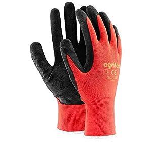 24pares Nuevo con revestimiento de látex guantes de trabajo duradero de seguridad Jardín Grip Builders, L – 9, negro / rojo, 60