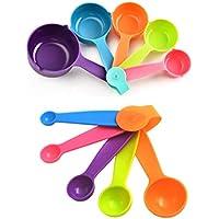 Juegos de 10 Cucharas Medidoras Plástico Cucharas y Tazas Medidoras Multicolor Medidoras de Cocina Medidoras Reposteria Apto para lavavajillas