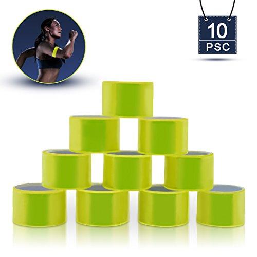 OFFICE HELPER 10 Stücke Reflektierende Bänder, Hohe Sichtbarkeit Reflektierende Armbänder Schnapparmband Reflektorbänder Klatscharmband Reflektierend Sicherheitsband