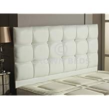 Crownbedsuk el cabecero de cama de la piel sintética, blanco, 180 cm - Super king size