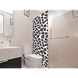 Vinilo para Mamparas Baños Piel de Leopardo Blanco   Varias Medidas 200x70cm   Adhesivo Resistente y de Fácil Aplicación   Pegatina Adhesiva Decorativa de Diseño Elegante