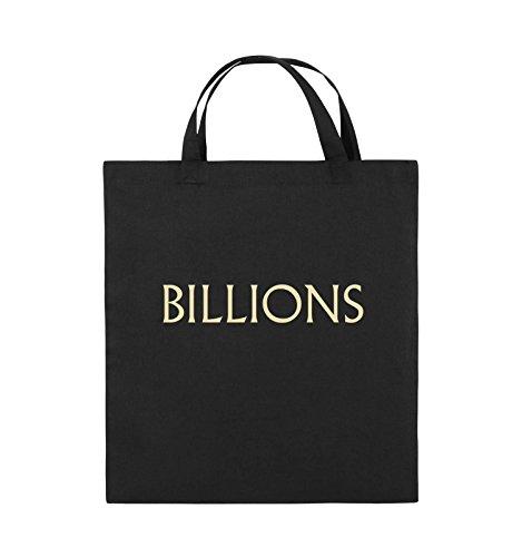 Comedy Bags - BILLIONS - LOGO - Jutebeutel - kurze Henkel - 38x42cm - Farbe: Schwarz / Pink Schwarz / Beige