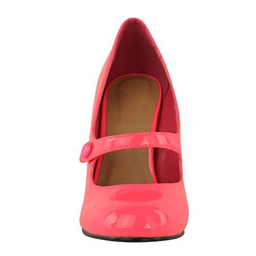 DONNE Basse MEDIO tacco alto cinturino alla caviglia Décolleté LAVORO décolleté sandali taglia rosa acceso VERNICIATA