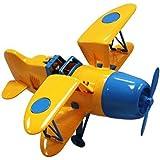 Joustra - Vehículo miniatura avión vintage, color amarillo/azul (40106)
