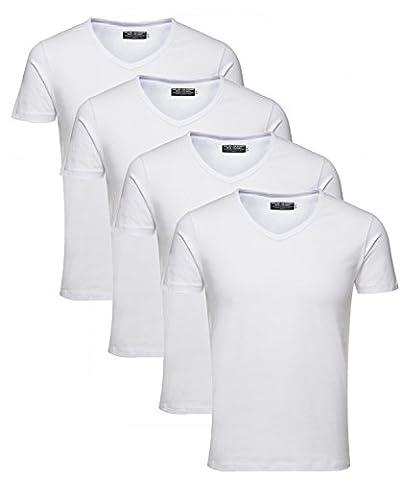 Jack and Jones Herren T-Shirt Basic V-Ausschnitt 4er Pack einfarbig Slim Fit in weiß schwarz blau grau inkl. GRATIS Wäschenetz von B46 (L, 4er Pack weiß)