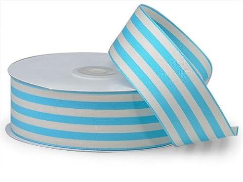 Turquoise Cabana Stripes Ribbon1-1/2 inch X25 Yds 100% Nylon