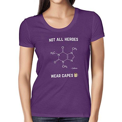 NERDO - Koffein - Not all Heroes wear Capes - Damen T-Shirt, Größe XL, violett (Cape Superhelden-t-shirt Mit)