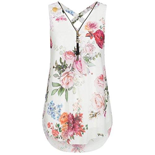 ZIYOU Damen Ärmellose Chiffon Bluse, Frauen Sommer Elegant Weste Top Hemdbluse Unregelmäßigkeit Casual Unterhemd Shirts (Weiß-B, EU-36/CN-S)