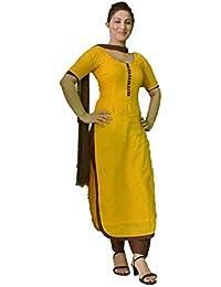 B4U Fashion Womens Yellow Cotton Un-stitched Punjabi Patiyala Style Salwar Kameez Suit Dress Material With Nazneen...
