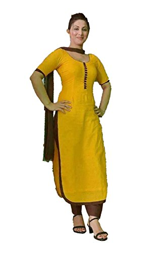 B4U Fashion Womens Yellow Cotton Un-stitched Punjabi Patiyala Style Salwar Kameez Suit Dress Material with Nazneen Dupatta