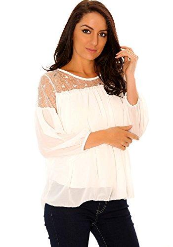 dmarkevous Top Blanc Femme avec Détails Tulle et Perles Manches Semi Bouffantes. Blanc