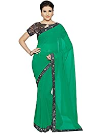 Oomph! Women's Plain Georgette Sarees With Printed Border - Magenta