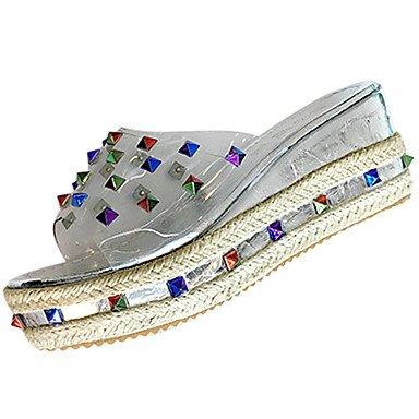 LvYuan Da donna Sandali Comoda Gomma Estate Footing Comoda Zeppa Nero Argento Meno di 2,5 cm Silver