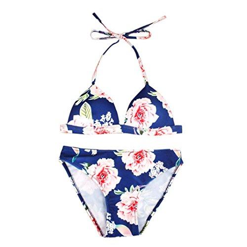 Sisit Bikini Für Frauen Schwimmen, Druck Bikini Set Push Up Gepolsterter Bh Badeanzug Anzug Bademode Bikini Für Frauen Sexy (Blau, S) Schwimmen Kimono