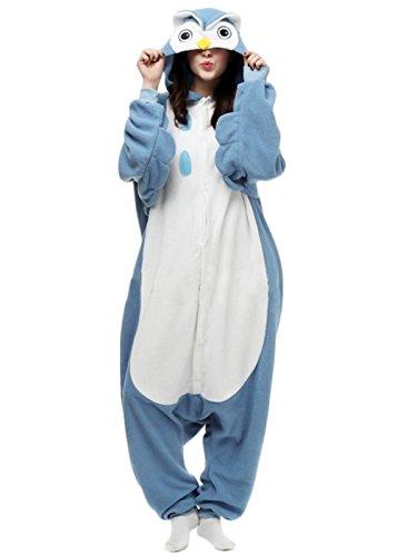 Y&L Cartoon-Erwachsene Schlafanzug Einteiler Nachtwäsche Nachtwäsche Kostüme Halloween Eule X-Large (Süße Tier Kostüme Für Paare)