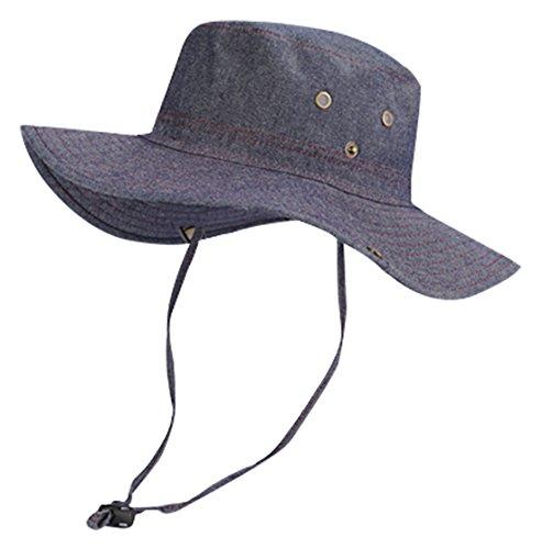 FYDRISE Sonnenhut Herren Damen Faltbar Sommer Anti UV Hut Travel Safari Cap Fischerhut Blau