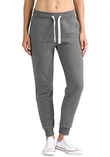 Fleece-t-shirt (DESIRES Derby Damen Sweathose Sweatpants Relaxhose Mit Fleece-Innenseite Und Kordel Regular Fit, Größe:L, Farbe:Grey Melange (8236))