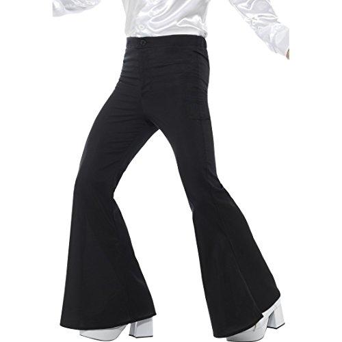 Amakando Seventies Disco Bootcut - L (52/54) - Schwarze Schlaghose Männer Flower Power Herrenhose Männerhose mit Schlag Hippie Saturday Night Fever Schwarze Schlaghose Männer (Saturday Night Fever Kostüm)