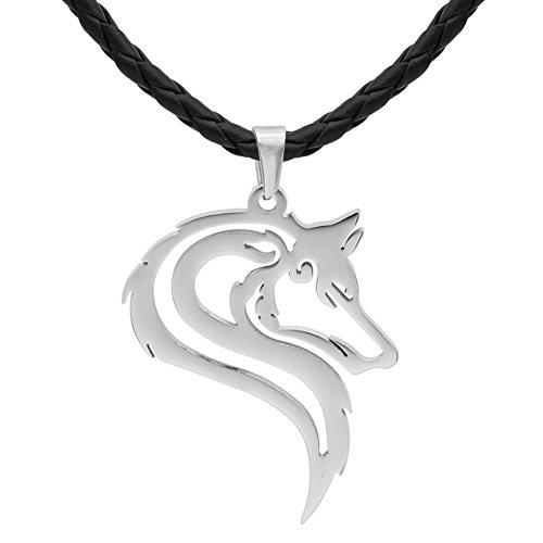 Männer 316L rostfreier Stahl töricht Wikinger oidn's wolf Kopf Kelte Amulett Anhänger Halskette - Edelstahl (Head Kette Schmuck)