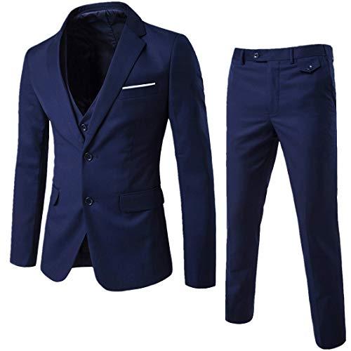 YIMANIE Herren Anzug Slim Fit 2-Knopf 3 Stück Anzüge Jacken-Weste und Hosen X-Small Blau -
