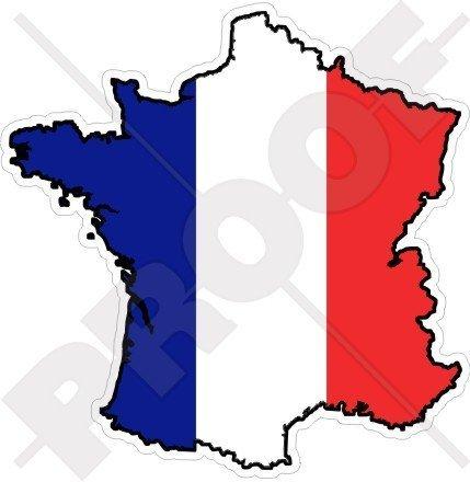 FRANKREICH Französische Karten Flagge 136mm Auto & Motorrad Aufkleber, Vinyl Sticker -