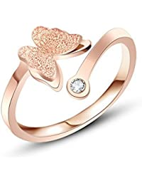 Peora Charming Dual Butterfly Surgical Steel 18K Real Rose Gold Plated Ring For Girls And Women