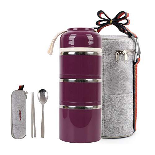 HOMESPON Lunchbox Snackbox mit 3 Unterteilungen Frischhaltedosenset Aufbewahrungsboxen, abbaubar und auslaufsicher, Lange Haltung von Wärme/Kälte, mit Löffel Essstäbchen und wärmehalter Lunchtaschen