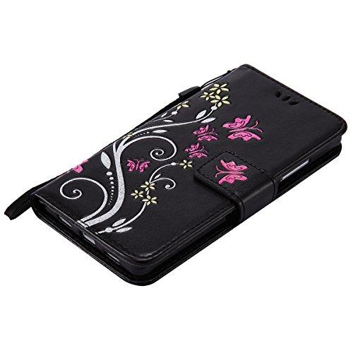 Hülle für Huawei P8 Lite, Tasche für Huawei P8 Lite, Case Cover für Huawei P8 Lite, ISAKEN Blume Schmetterling Muster Folio PU Leder Flip Cover Brieftasche Geldbörse Wallet Case Ledertasche Handyhülle Schmetterlinge Bunt Schwarz