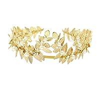 Mobestech Three-dimensional Leaves High-end Pearl Wedding Headband Rhinestone Tiara Headpieces Women Wedding Hair Accessories(Gold)