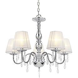 [lux.pro] Lámpara de araña de cristal - blanca - E14 - Lámpara de techo moderna - 5 brazos - cromo