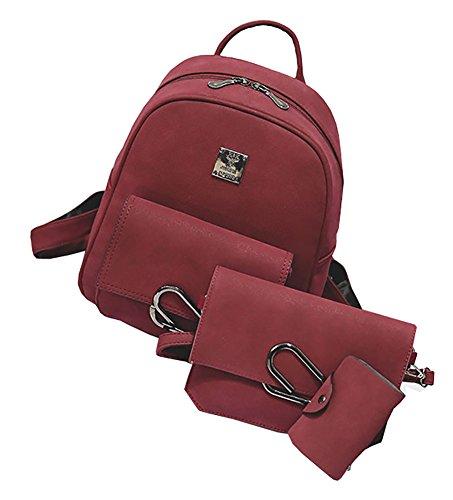 Himaleyaz Double Zipper Mode Frauen Rucksack 3pcs Set Rucksack Schultertasche Card Tasche für Dating für Party Schwarz Rot