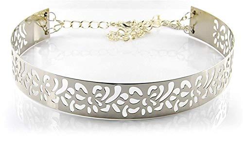 Awertaweyt Hüftgurt, Women Summer Gold & Silver Full Metal Flower Belt Shinny Like Mirror Waist Belt For Dress Cummerbund Hook With Chain Bg-071 Gold Cummerbund-set