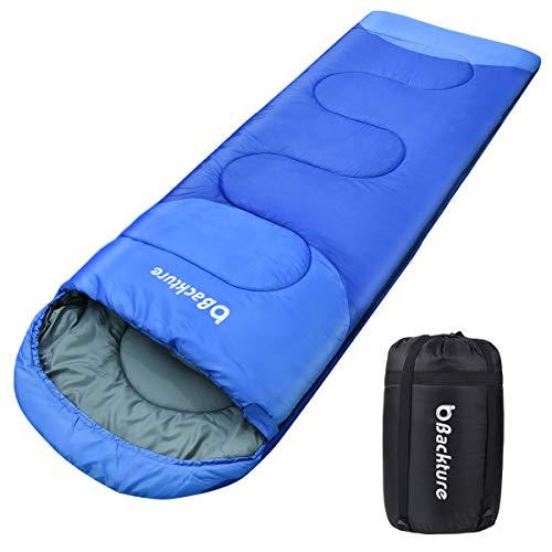 BACKTURE Sac de Couchage pour Camping, Randonnée et en Extérieur Professionnel pour 3 Saisons 5~25℃, avec Imperméable Le Sac de Rangement, 220 * 80cm(Bleu)