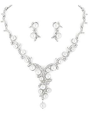 Schmuckanthony Best Seller Hochzeit Brautschmuck Schmuckset Kette Set Ohrringe Perlen Weiß Kristall klar Transparent...
