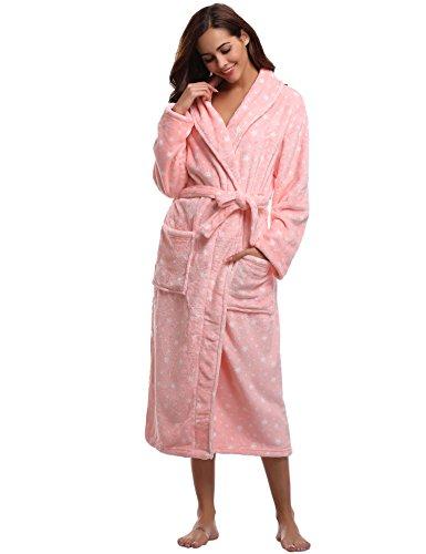 Aibrou Bademantel Damen Winter Morgenmantel super weiches flauschiges coral fleece warmer Schlafanzug Nachtwasche aus Flanell Saunamantel Frottee Kleidung, Rosa Stern, S - EU(36-38)