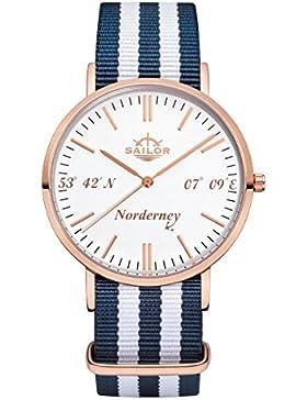 Sailor Damen-Armbanduhr Limited Edition, Model: Norderney in rosègold/weiß mit Nylonarmband | Quarzuhr mit analoger...