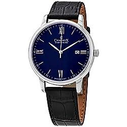 Charmex Amalfi - Reloj de Pulsera para Hombre (Esfera de Cristal de Zafiro, Correa de Piel auténtica Negra, Caja de Acero Inoxidable bañada en Plata de 42 mm, Resistente al Agua)