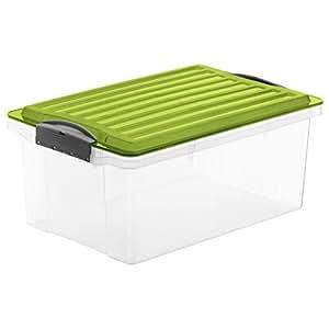 rotho aufbewahrungs kiste compact transparent mit deckel in gr n lagerbox aus kunststoff im din. Black Bedroom Furniture Sets. Home Design Ideas