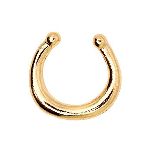 Finto Fake Body Piercing segmento Septum Ferro di Cavallo Naso Labbro Corpo Tragus Helix Colore rosé Nero Oro Argento, Colore:Oro