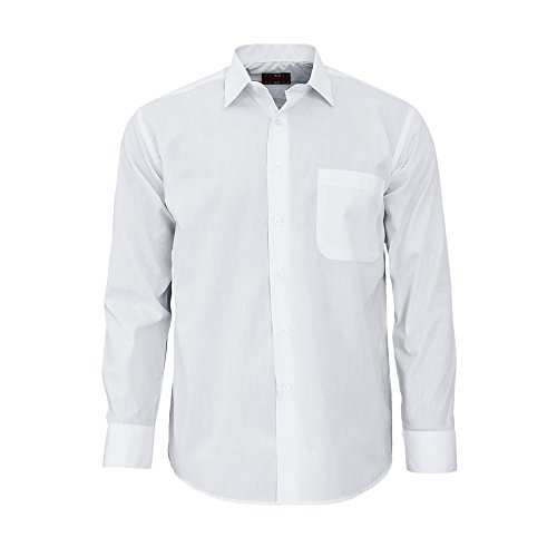 Herren Hemd Langarm Regular Fit - Business & Freizeit 2116 (Button Oxford Weißes)
