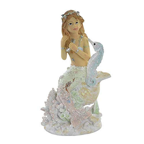 Hogar y Mas Sirena Figura Decorativa de Resina, Diseño Original Con Caballito de mar. 4 Modelos a elegir 7,5X6,5X13,5 cm - A