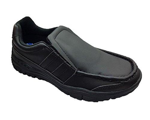 KIDS BOYS BACK TO SCHOOL SLIP ON SHOES BLACK SHOES SIZES 13-6