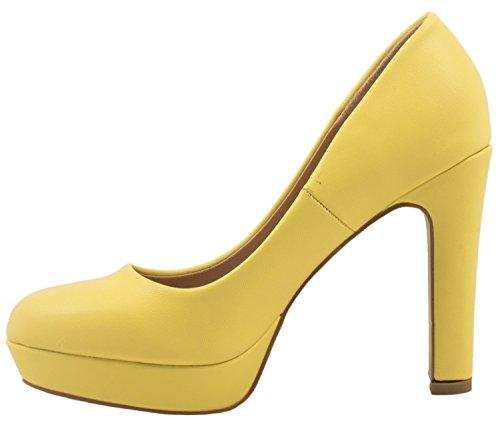 Elara Moderne Damen High Heels | Stiletto Schuhe | Plateau Pumps | Chunkyrayan Gelb